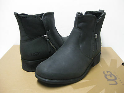 d7751683cf4 UGG LAVELLE BLACK Leather Shearling Ankle Boots Us 11 / Eu 42 / Uk ...