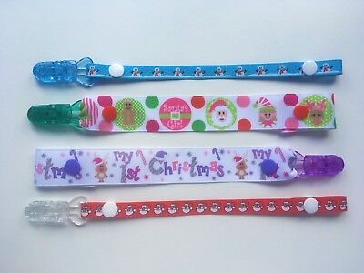 Baby Girls Boys New Christmas Xmas Gift Dummy Clip Soother Pacifier Holder
