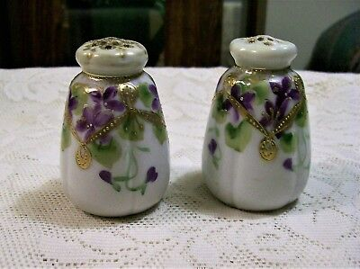 Antique Victorian Era Moriage Hand Painted & Gold Guilded Salt & Pepper Shakers