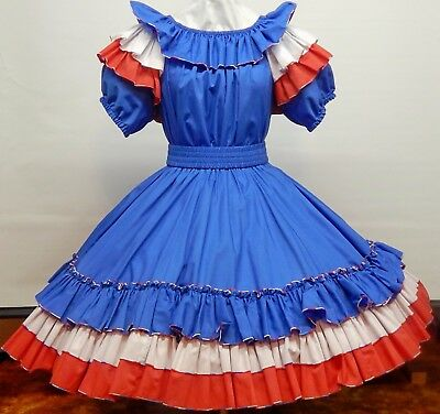 2 Pc Cross-Eyed Cricket Red/white/blue Square Dance Dress