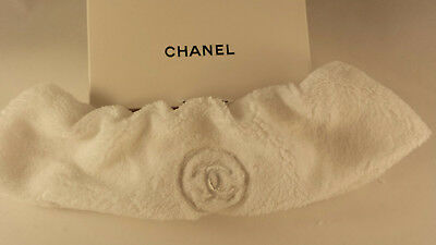 Chanel VIP White Essential Velour Terry Cloth Headband Hairband New Ship from CA