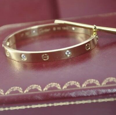 Cartier Love Bracelet 18k Yellow Gold With 4 Diamonds (Certificate Included!)