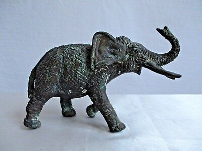 """Vintage Solid Cooper Metal Elephant Figurine 7"""" x 5"""" Tall Weighs 2 lb 14 oz"""