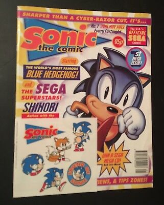 Sonic the Comic #1 1993 Free stickers High Grade condition