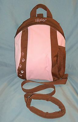 iPlay Toddler Backpack with Parent Safety Rein. Paw Prints. Pink and Brown