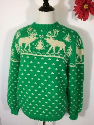 Vintage Sweater Reindeer Intarsia Green White Womens L Men's M Hand Knit Nordic