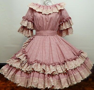 2 Pc  Mauve And Lace Square Dance Sissy Dress