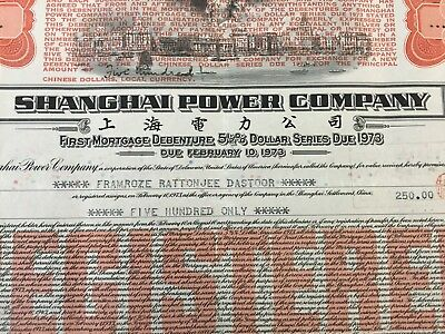 1973 Shanghai/china 500 Dollars/5 1/2 % Mortgage Bond/loan/principal