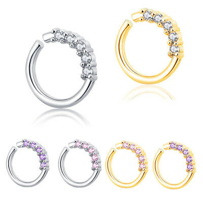 14G Surgical Steel Zircon Cartilage Tragus Septum Ear Nose Hoop Ring Piercing