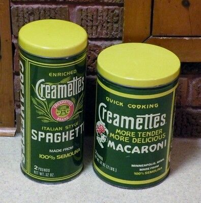 Vintage CREAMETTES - 2 Tin Containers / Canisters - Macaroni / Spaghetti