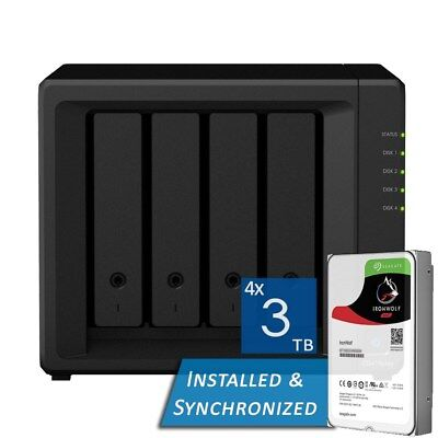 Synology DiskStation DS418play 4 Bays NAS + 12TB 4x Seagate 3TB ST3000VN007