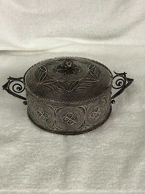 Filigrain Solid Silver , Persian Iranian Silver Small Candy Pot With Lid
