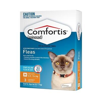 Comfortis Chewable Flea Control for Cats 2.8-5.4kg (Orange) - 3-Pack