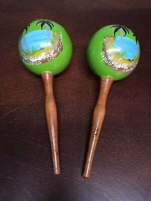 Vintage Wooden Maracas Handmade In Republica Dominicana
