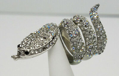 SNAKE SILVER RING w/SPARKLING CRYSTALS FASHION> Womens Mens SIZE 7 >NEW<