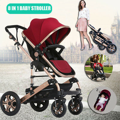 Baby Stroller Buggy 8 in 1 High View Pram With Bassinet Foldable Baby Carriage