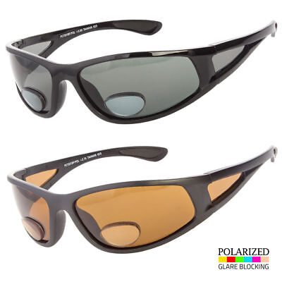 Bifocal Reader POLARIZED Sunglasses SPORTS Wrap AROUND Fishing Smoke Brown