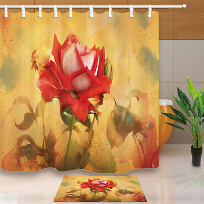 "Flower Decor Watercolor Lotus Bathroom Fabric Shower Curtain 71"" With 12 Hooks"