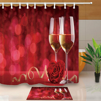 "Romantic Champagne Rose Bathroom Home Fabric Shower Curtain Set 71""&12 Hooks"