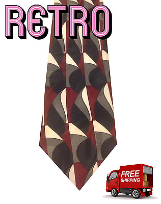 1970s WIDE Red White Blue Gray Silver Vintage Men's Necktie Tie Crescent Bay VTG