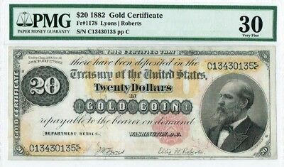 "$20 1882 ""Large Size"" Gold Certificate PMG 30 Very Fine (stains lightened)"