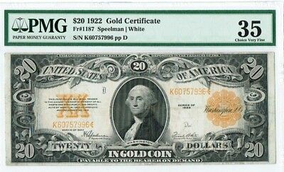 "$20 1922 ""Large Size"" Gold Certificate PMG 35 Choice Very Fine"