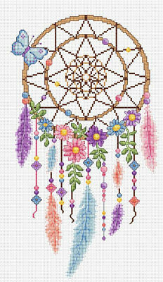 Colourful Dreamcatcher - Cross Stitch Chart - FREE POST