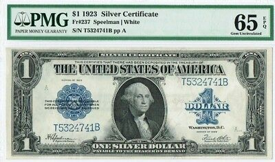 "$1 1923 ""Large Size"" Silver Certificate PMG 65 EPQ ""Gem Uncirculated"""