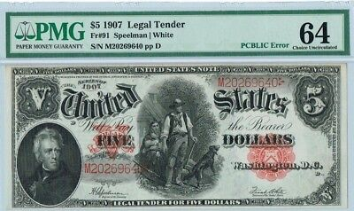 "$5 1907 ""Woodchopper"" Legal Tender Note PMG 64 CU ""PCBLIC Error"""