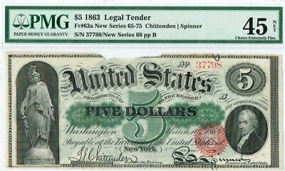 "$5 1863 ""Large Size"" Legal Tender PMG 45 NET ""Choice XF"" Margin Damage"""