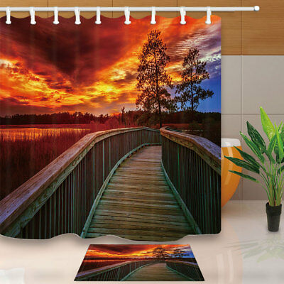 "Wooden Bridge In Wild At Sunset Bathroom Fabric Shower Curtain 71X71"" With Hooks"