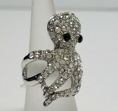 OCTOPUS SILVER RING w/SPARKLING CLEAR CRYSTALS FASHION> Womens Mens SIZE 6 >NEW<