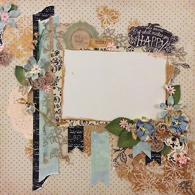 handmade scrapbook page 12 X 12 Golds And Blues Universal Themed Layout