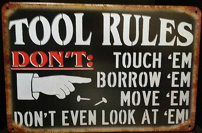 TOOL RULES Tin Metal Sign Rustic Look .. MAN CAVE . brand new. AU SELLER