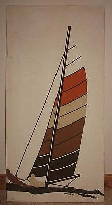 Marushka Vintage Art Print Wall Decor Sailboat & Rowers HUGE 36-18-.75 brown,tan