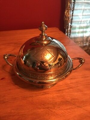 Beautiful Vintage Meridian Silver Plated Butter Dish Monogrammed B