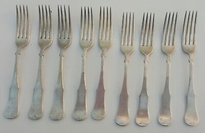 COIN SILVER FORKS - LOT OF 9 FORKS - A1 COIN SILVER CO. 12.60 Ounces