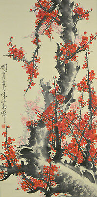 Vintage Chinese Watercolor FLOWER Wall Hanging Scroll Painting aftr Guan Shanyue