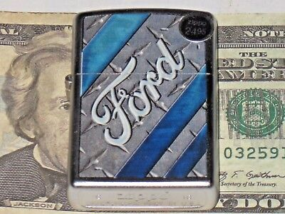 New ZIPPO Windproof USA LIGHTER 28626 Ford Tire Tread Stripes Satin Chrome Case