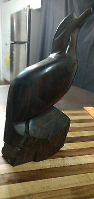 "Large Ironwood Sea Gull on Rock Hand carved 9.25"" Folk Art abstract"