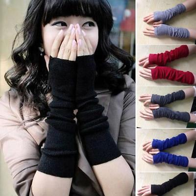 Wholesale Woman Arm Length Warmers Long Gloves Fingerless Mittens Funk Black DH