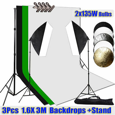 "Photo Studio 1350W Softbox Lighting 3 Backdrops Support Stand 43"" Reflector Kit"