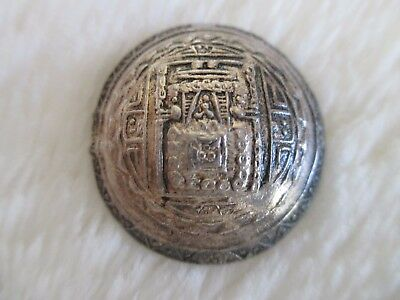 "*ANTIQUE/VINTAGE SOUTH AMERICAN .925+ STERLING SILVER BUTTON 1-1/16"" Signed PERU"