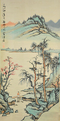 Vintage Chinese Watercolor COUNTRYSIDE LANDSCAPE Wall Hanging Scroll Painting
