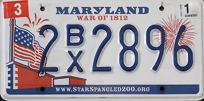 "USA Number Licence Plate MARYLAND ""WAR OF 1812"""