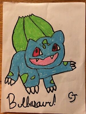 Bulbasaur Drawing By CJ 12/14/17 oil pastel on white paper. 1/1 original