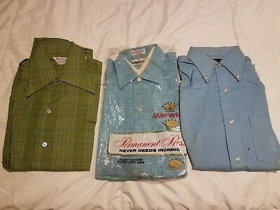 3 - NOS Vintage Mens Dress Shirts Size Small Maywood h.i.s. Island in the Sun L3