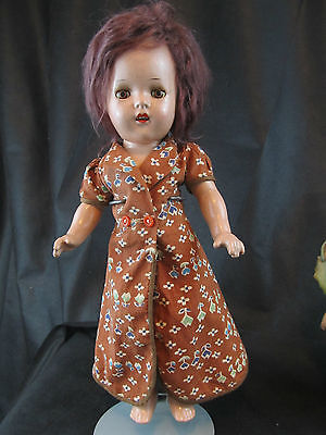 """Vintage Composition Doll 14"""" With Aluminum Eyes"""