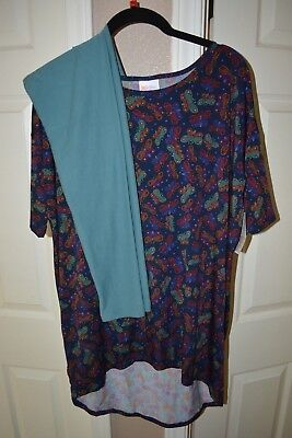 New NWT LuLaRoe XS slinky material butterfly blue purple OS Leggings solid teal