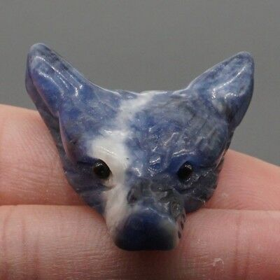 Howling Wolf Natural Gem Blue Sodalite Pendant Carved Stone Necklace Jewelry